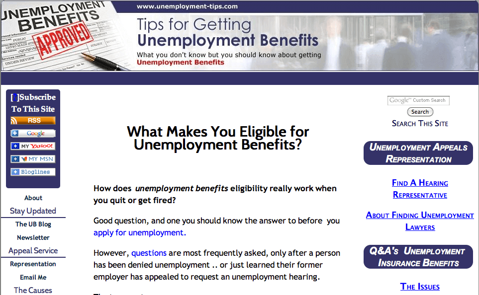 Featured Site- unemployment-tips.com
