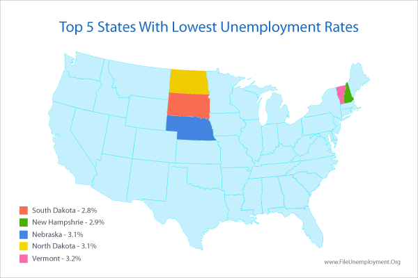 Map of states with lowest Unemployment Rate