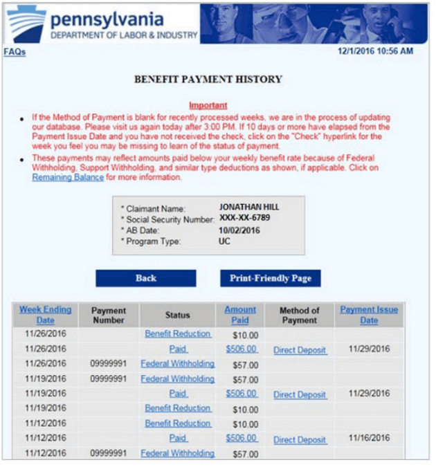 Benefit Payment History